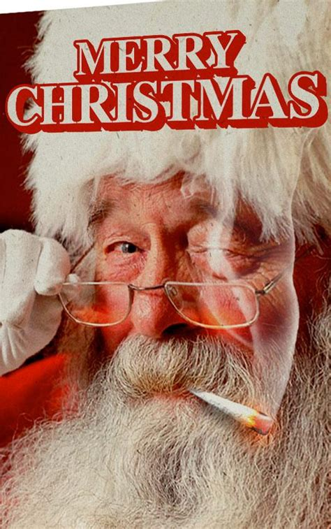 merry christmas  santa hemp card stonerdays