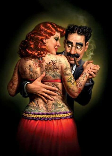 tattoo lady cartoon clairista artista lydia the tattooed lady