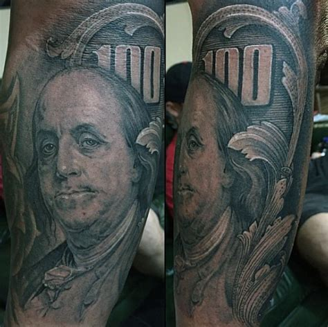 benjamin franklin tattoos 50 money tattoos for wealth of masculine design ideas