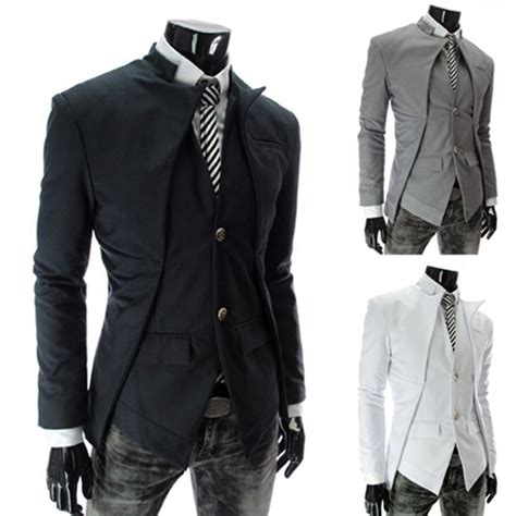 Slim Fit Atasan Formal Casual O Black Ot Kaos T Shirt Pria 2017 fashion s casual slim fit suits blazer business casual suit white grey black