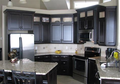 plain black kitchen cabinets of kitchens with white and
