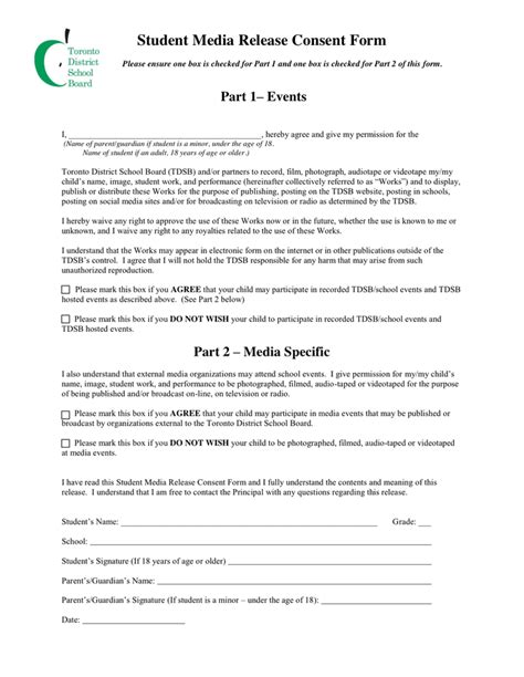 media release form student media release form in word and pdf formats