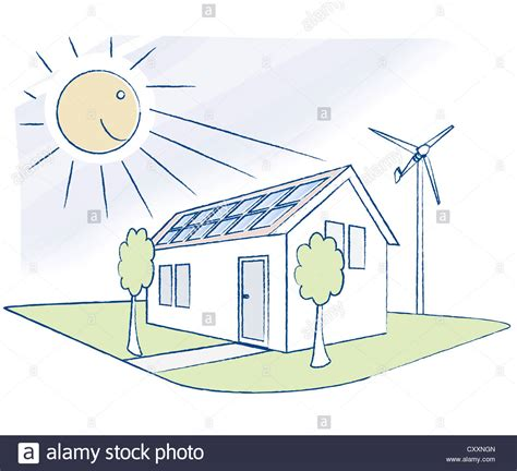 buying a house with solar panels house with solar panels and a small wind turbine illustration stock photo royalty