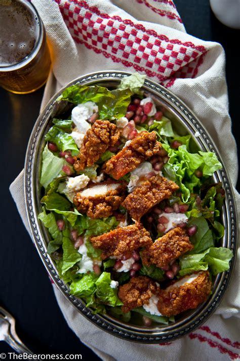 buttermilk fried calamari salad with cantaloupe vinaigrette fried buttermilk beer chicken salad with sriracha honey