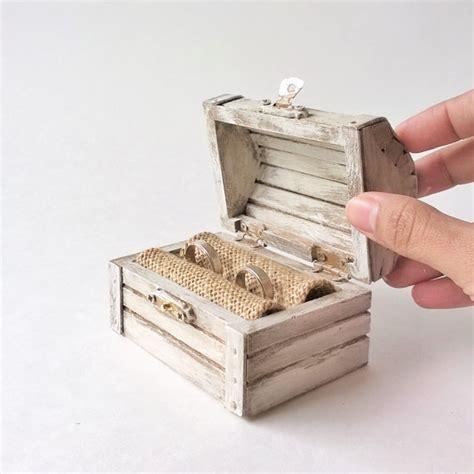 Wedding Treasure Box by Ring Bearer Box White Treasure Chest Rustic Ring Bearer