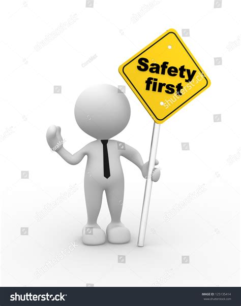 stock illustration of 3d man with safety equipment on 3d people man person safety first stock illustration
