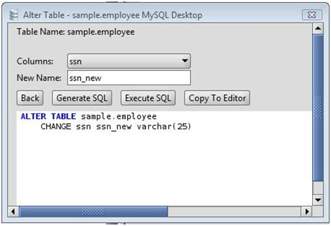 mysql alter table change column mysql rename a column on an mysql database table using the