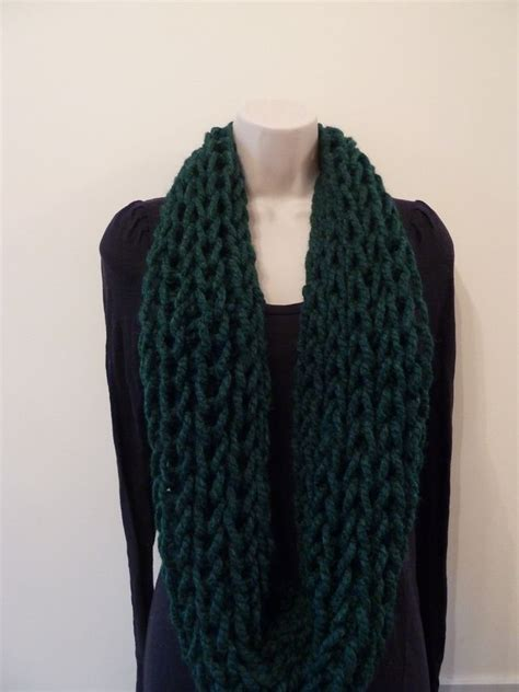 knitting pattern loose scarf chunky loose knitted infinity scarf forest green infinity