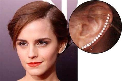 emma watson ear piercing jewels earrings diamonds silver emma watson wheretoget