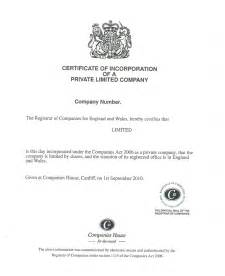 company certificate template certificate of incorporation for limited companies
