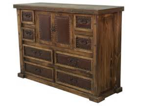 Laguna rustic wood dresser with leather panels