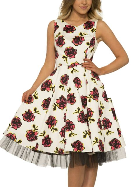 43693 Yellow Graffiti Flower Dress 54 Best 50s Style Rockabilly Floral Dress Images On