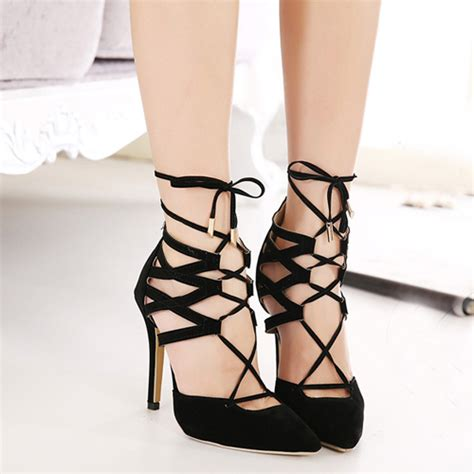 closed toed high heels cheap fashion pointed closed toe lace up stiletto