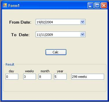 year calculator calculate difference between two dates in day week month and year parts codeproject
