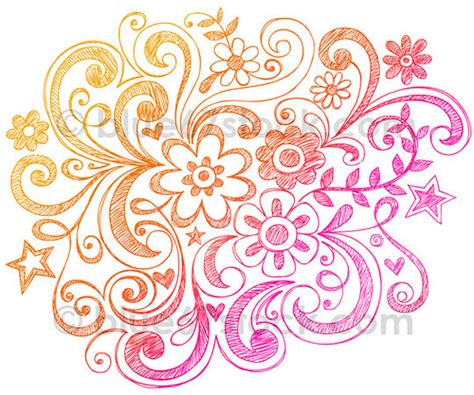 how to draw doodle swirls sketchy flowers and swirls doodle vector illust