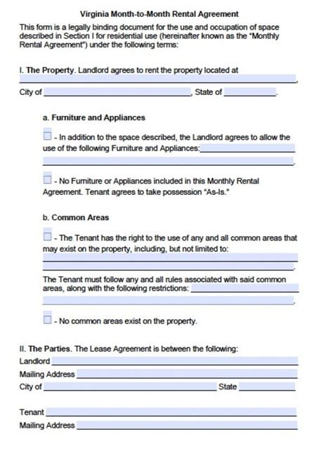 Free Virginia Month To Month Lease Agreement Pdf Word Doc Virginia Lease Template