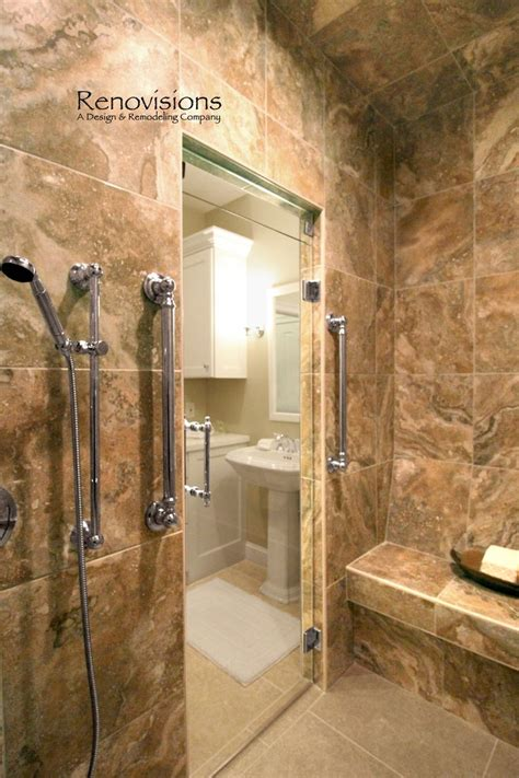 walk in shower designs with bench master bathroom remodel by renovisions tile shower bench