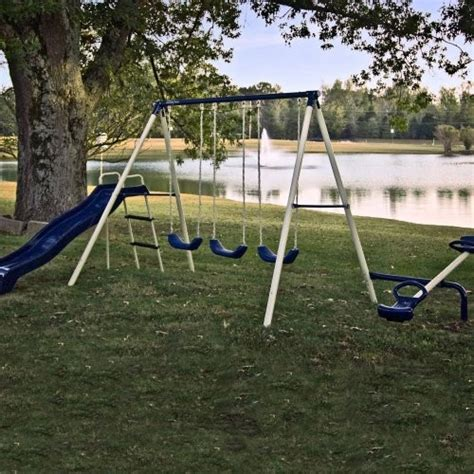 flexible flyer backyard swingin fun metal swing set flexible flyer triple 5 station fun metal swing set