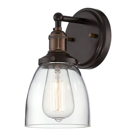 Wall Lighting Sconce by Sconce Wall Light With Clear Glass In Rustic Bronze Finish