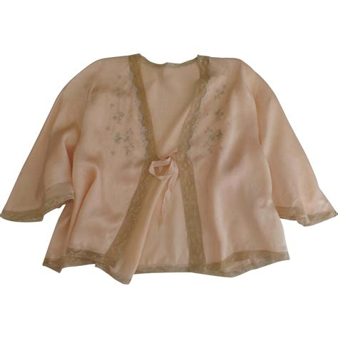 bed jacket 1930 s silk charmeuse lace embroidered bed jacket peach
