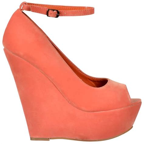 shoekandi suede wedge peep toe platform shoes ankle