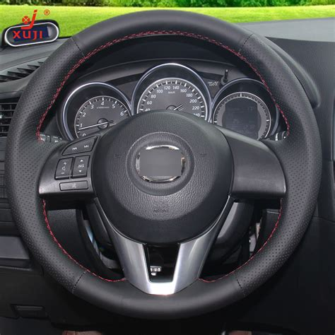 Cover Mazda Cx 6 black leather stitched car steering wheel cover for mazda cx 5 cx5 atenza 2014 new mazda 3