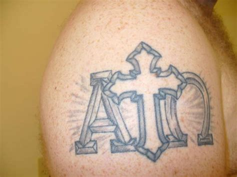 alpha omega tattoo alpha and omega with cross