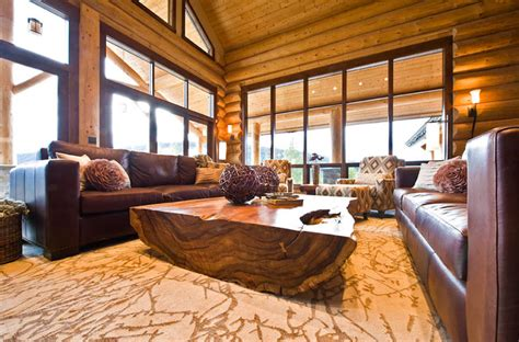 ranch log home traditional living room by sitka log