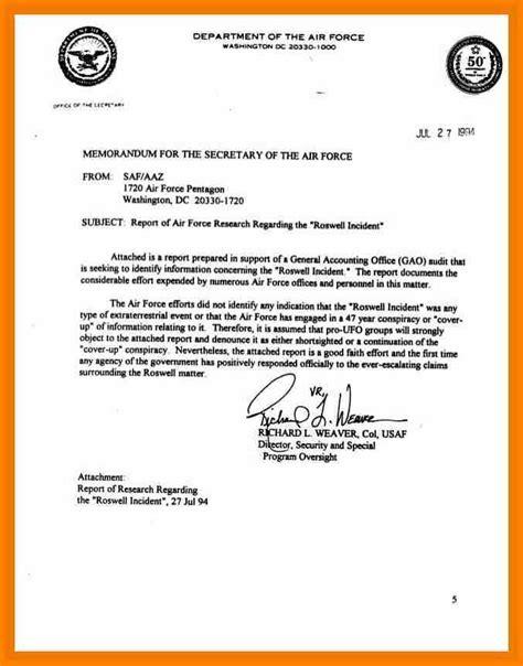 7 air force memorandum for record report exle