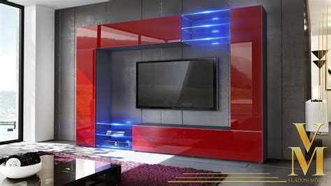 Black Living Room Furniture Uk by Wall Unit Living Room Furniture Mirage Black High Gloss Tones Ebay