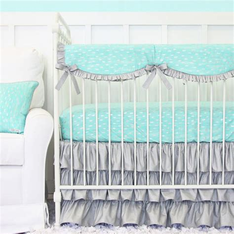 Aqua And Gray Crib Bedding by Aqua And Silver Sparkle Ruffle Baby Bedding Gray And