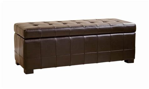 brown leather storage bench dark brown modern classic leather tufted dimpled leather