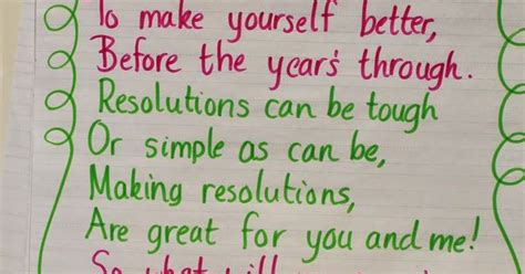 new year kindergarten poem poem quot new years resolutions quot from grade wow