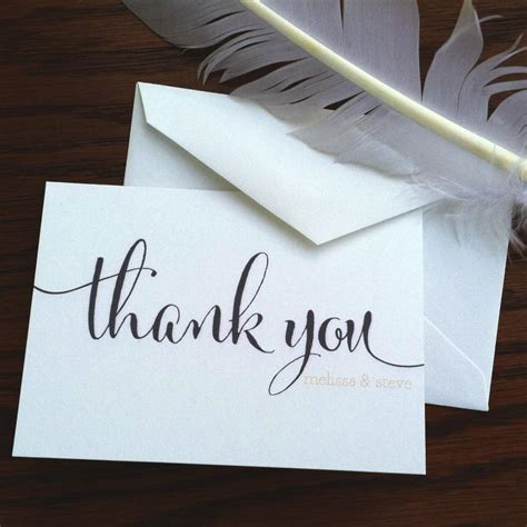 Handmade Thank You Notes - wedding thank you notes large script handmade wedding