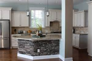 Stone Kitchen Islands by Beautiful Kitchen Remodel Copen Blue Walls Stone On
