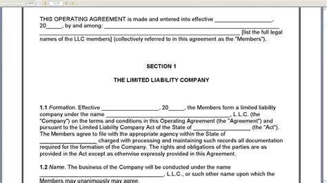 member managed llc operating agreement youtube
