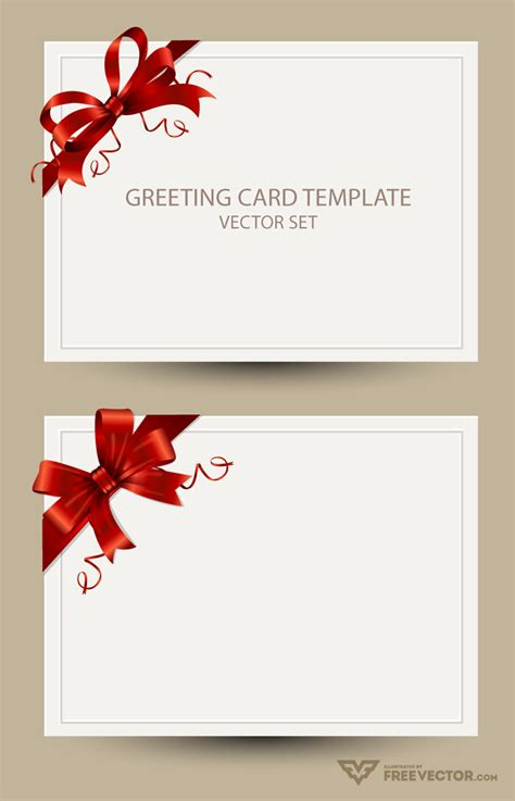 Template Card For by Freebie Greeting Card Templates With Bow Ai Eps