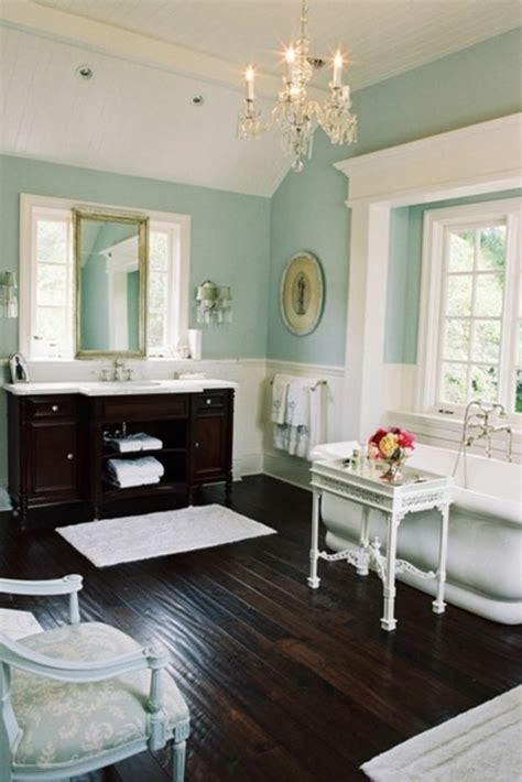 blue walls brown furniture glamorous bathroom with dark brown hardwood floors and