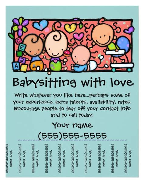 15 Cool Babysitting Flyers Printaholic Com Babysitting Ad Template