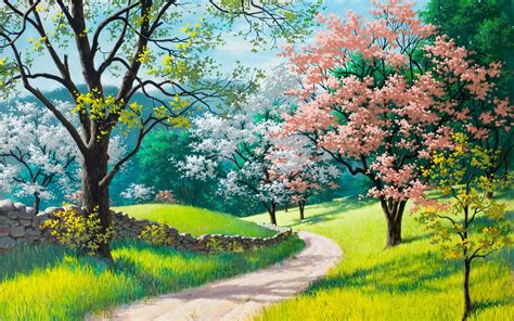 spring paint spring blossoms painting wallpapers 2560x1600 1407502