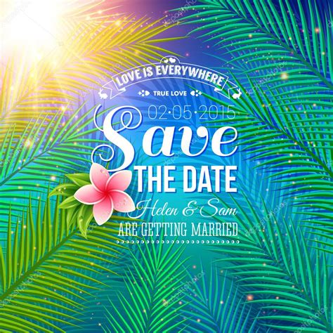Nature Wedding Concept by Save The Date Concept With Nature Style Stock Vector