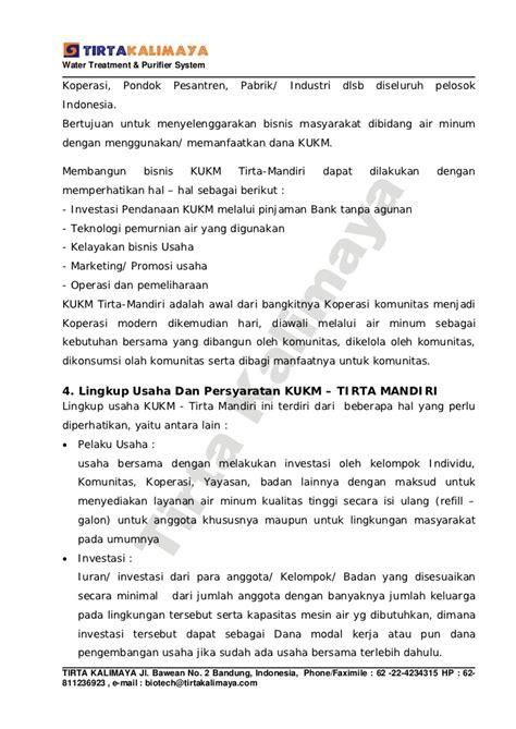 format bisnis plan bank mandiri proposal ukm air minum isi ulang tirta mandiri