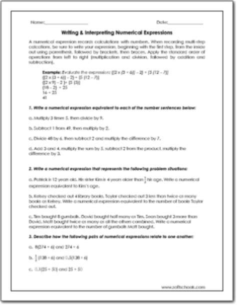 5 Oa 1 Worksheets by Numerical Expressions Worksheet Worksheets Tutsstar