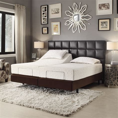 dark grey wooden bed with white leather headboard next to rectangle black leather headboard with brown wooden bed
