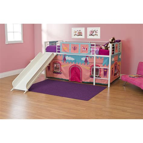 girls princess castle twin loft bed with slide white