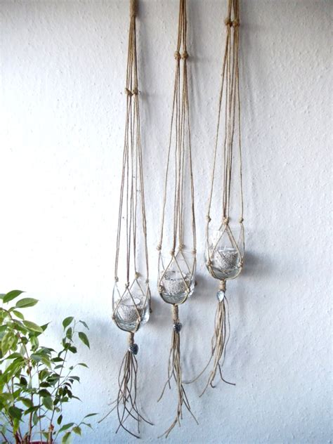 Hemp Plant Hangers - set of three macrame plant hangers indoor plant