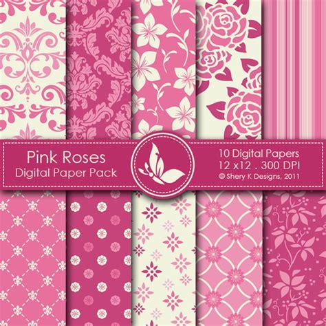 pink digital pink roses digital paper pack shery k designs