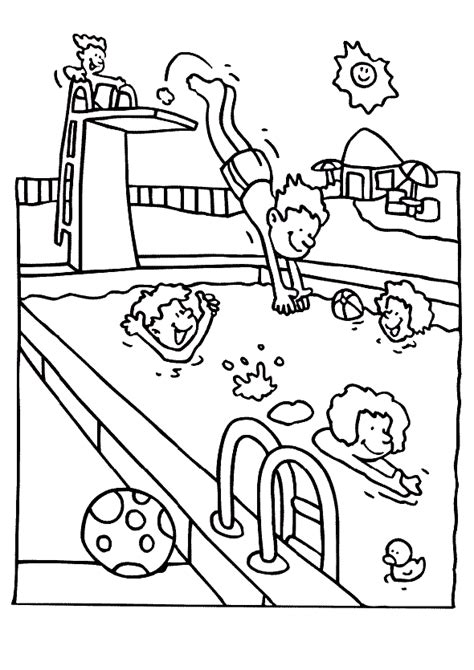 visit  swimming pool  summer summer coloring pages