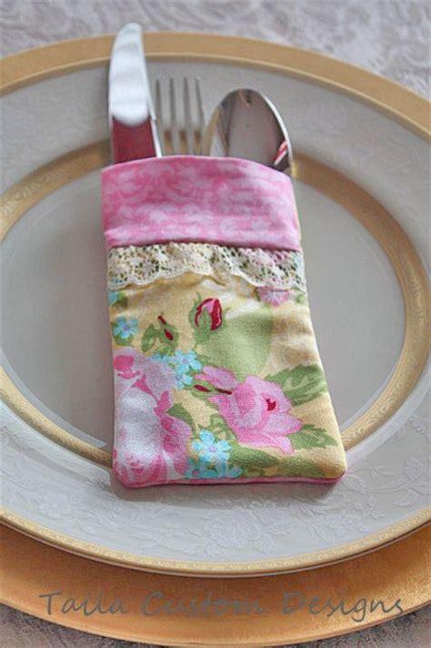 shabby chic silverware utensil holder fabric pouch lace pink roses shabby chic and shabby chic