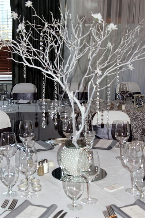 black gray and bling wedding manzanita centerpiece grey silver white bling wedding theme